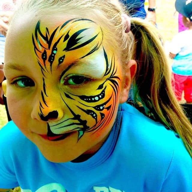 Yellow Tiger Face Paint tiger facepaint cat pretty kids girlhellip